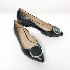 Naturalizer Pointed Toe Silver Buckle Black Flat